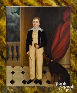English oil on canvas folk portrait