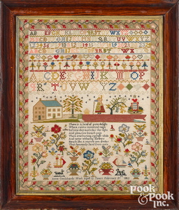 Large English wool on linen sampler, dated 1802
