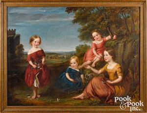 English oil on canvas portrait of four children