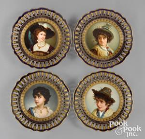 Four Meissen painted porcelain portrait plates