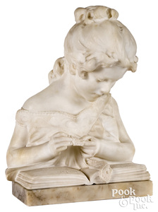 Italian carved marble bust, late 19th c.