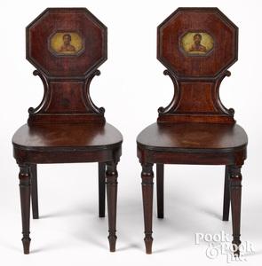 Pair of Italian mahogany hall chairs