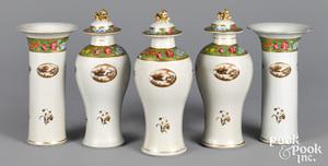 Chinese export porcelain five-piece garniture set