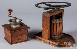 Oak press and coffee grinder