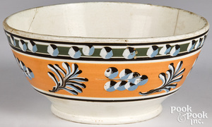 Mocha bowl, with cat's-eye and twig decoration