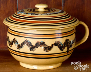 Mocha yellowware pot and cover