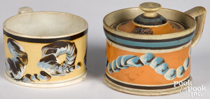 Two mocha mustard pots