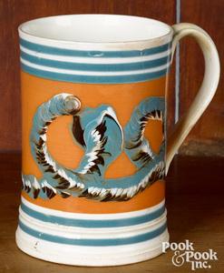 Mocha mug ,with earthworm decoration