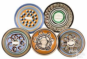 Five mocha lids
