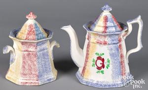 Three color rainbow spatter teapot