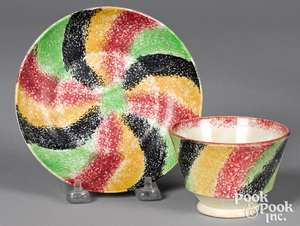 Rare four color rainbow spatter cup and saucer