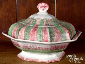 Red and green rainbow spatter covered serving dish