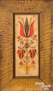 David Y. Ellinger watercolor fraktur of a tulip