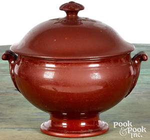 Redware footed bowl and cover