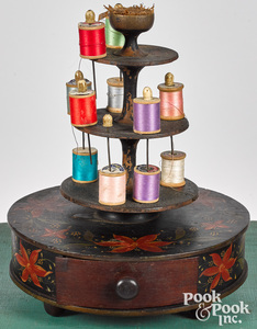 Painted pine sewing stand, 19th c.