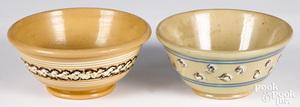Two mocha decorated yellowware bowls