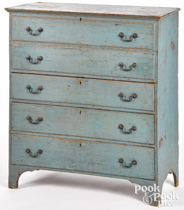 New England painted pine mule chest, early 19th c.