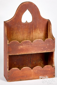 Painted pine hanging wall box, 19th c.