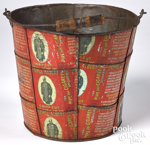 Folk art tin bucket
