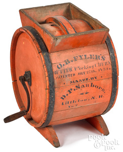 New Hampshire painted butter churn, late 19th c.,