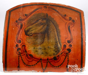 Painted sled panel with horse, late 19th c.