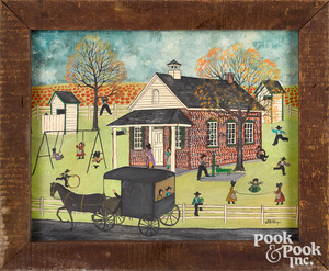 Dolores Hackenberger oil of an Amish schoolyard