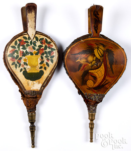 Two painted fireplace bellows, 19th c.
