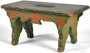Painted poplar footstool, 19th c.