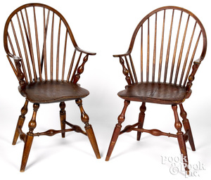 Two New England continuous arm Windsor chairs