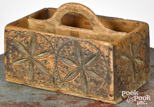 Carved and painted pine utility carrier