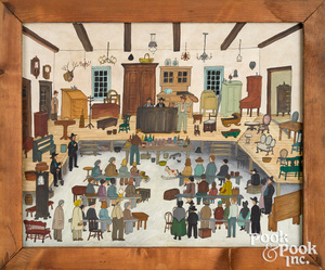 Dolores Hackenberger oil on canvas auction scene