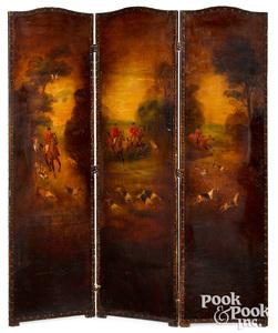 Three-part oil on canvas folding screen