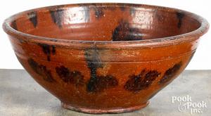 Redware mixing bowl, 19th c.