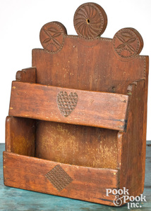 Stained pine hanging wall box, early 19th c.