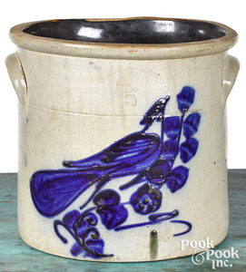 New York five-gallon stoneware crock, 19th c.