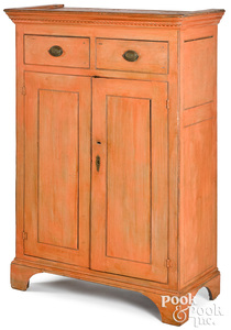 New England painted pine wall cupboard