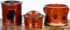 Three Pennsylvania redware tubs, 19th c., with man