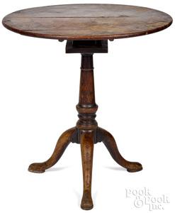 George II mahogany tea table, ca. 1750, with diamo