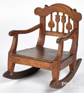 Tiger maple child's rocking chair, 19th c., with h