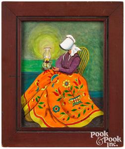 David Y. Ellinger watercolor of an Amish woman