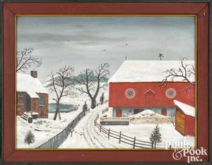 David Y. Ellinger oil on board winter farmscene