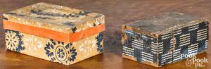 Wallpaper covered slide lid box, 19th c., together