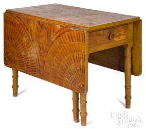 Sheraton painted drop-leaf table, 19th c., retaini