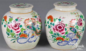 Pair of Chinese export famille rose ginger jars