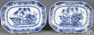Pair of Chinese export blue and white plates