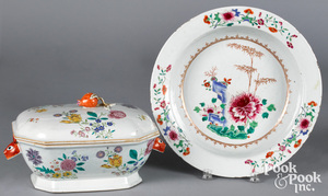 Chinese export famille rose tureen and deep dish