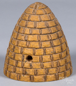Paul Tyson carved and painted bee skep