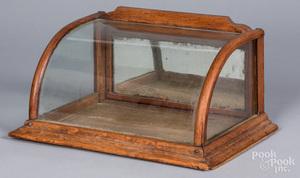 Miniature oak counter top showcase, ca. 1900