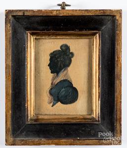 Miniature watercolor portrait of a woman, 19th c.