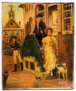 Oil on canvas Revolutionary War town scene, 19th c